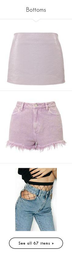 """Bottoms"" by dangerousmistake ❤ liked on Polyvore featuring skirts, pink, vinyl skirt, pink skirt, pink vinyl skirt, shorts, bottoms, denim shorts, lilac and acid wash denim shorts"