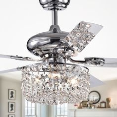 Shop for Silver Orchid Campbell Chrome Lighted Ceiling Fan (remote controlled). Get free delivery at Overstock - Your Online Ceiling Fans & Accessories Store! Get in rewards with Club O! Ceiling Fan Chandelier, Silver Chandelier, Ceiling Lights, Ceiling Fans, Crystal Lamps, Bedroom Chandeliers, Ceiling Tiles, Bedroom Lighting, Shops