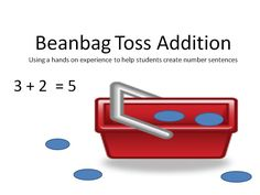 Beanbag Toss Addition is a simple, hands-on game that gets kids excited about working with addition! (Free idea.)