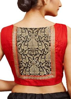 Red Raw Silk Designer Blouse - A simplified form of our logo or crest could be used here Simple Blouse Designs, Stylish Blouse Design, Fancy Blouse Designs, Designer Blouse Patterns, Skirt Patterns, Coat Patterns, Sewing Patterns, Saree Blouse Patterns, Clothes Patterns