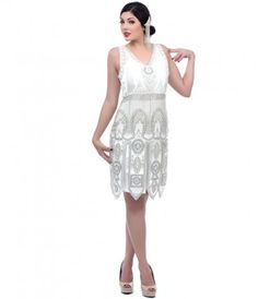 White and Silver Art Deco #Flapper Dress. Gatsby themed #wedding anyone? #uniquevintage