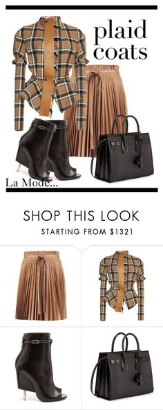 """La Mode...: #plaidcoats"" by lamodelle ❤ liked on Polyvore featuring RED Valentino, Loewe, Givenchy, Yves Saint Laurent and plaidcoats"