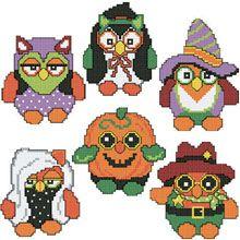 Halloween Owls Plastic Canvas Ornaments