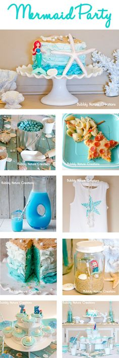 Mermaid Party.  Great ideas, including starfish pizza and pasta salad made with shell-shaped pasta