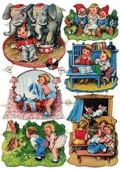 Vintage German Scrap Circus and Gnomes Clip Art Vintage, Images Vintage, Vintage Ephemera, Vintage Cards, Vintage Paper, Childhood Memories, Sweet Memories, Baby Kind, Illustrations