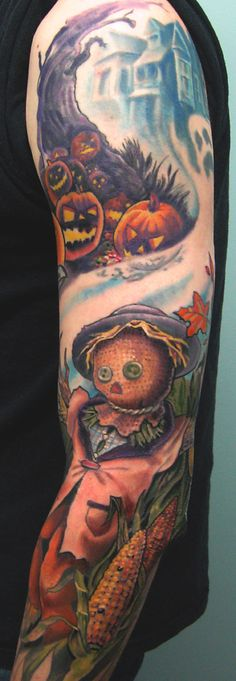 okay before anyone who follows me loses all respect for me - I don't like the tat or want anything close to this, but I want to repin it to have it around as a reference for the swirl-around as well as the back- and fore-ground of my desired sleeve.
