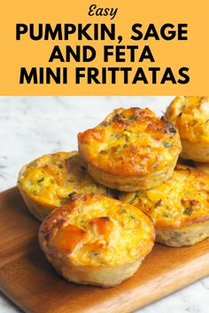 Meatless Monday Pumpkin, Sage and Feta Mini Frittatas is part of Mini frittata Makes 12 mini frittatas Even when I was a kid, nothing made me feel more content than a full pantry or a full fridge - Mini Frittata, Savory Muffins, Savory Snacks, Savoury Muffin Recipe, Savoury Muffins Vegetarian, Vegetarian Finger Food, Quiche Muffins, Quiche Recipes, Mini Pie Recipes