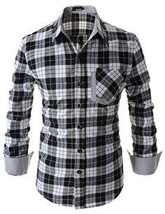 ShowBlanc SBCHS1098 Man s Checkered Pocket Patched Long Sleeve Cotton shirt  BLACK US S(Tag size L) at Amazon Men s Clothing store  838ed41e55e