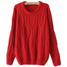 Red Long Sleeve Mohair Cable Knit Sweater ($15) found on Polyvore featuring tops, sweaters, red, pullover sweater, long sleeve sweaters, loose pullover sweater, long sleeve pullover sweater and cable knit sweater