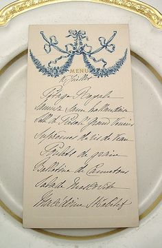 Beautiful handwritten, vintage menu. The lost art of handwriting. Such a personal touch.