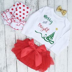 Baby Girl First Christmas Outfit Merry   by ChristiCreations Baby Girl  Christmas 20db5fd0f