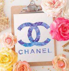 Chanel print A4 in purple water color 8.5 X 11 by hellomrmoon