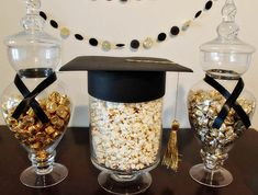 Our Styled Graduation Party Candy filled jars are a cute touch for decor. rolos and hershey kisses Graduation Party Desserts, Graduation Party Planning, College Graduation Parties, Graduation Celebration, Graduation Party Invitations, Graduation Party Decor, Diy Birthday Decorations, Graduation Decorations, Graduation Centerpiece