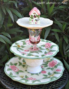 Garden Totem / Centerpiece / Dessert Stand - As Featured In Flea Market Gardens Magazine. $45.00, via Etsy.