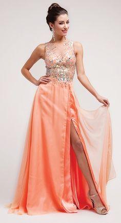 Sleeveless Illusion Neck Thigh Slit Peach Prom Dress #discountdressshop #sleeveless #peach #promgown #womensclothing