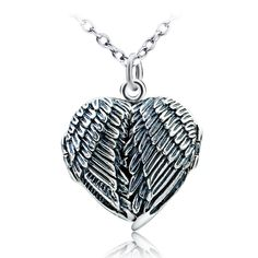 925 Sterling Silver Guardian Angel Wings Heart Openable Necklace locket pendant #Harmonybell #Charm
