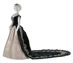 Charles Frederick Worth, Court Dress with Emerald Silk Bodice &12-foot Train. (Another View)
