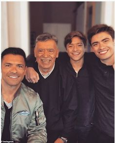 Kelly Ripa shared her love for all the 'papi chulos' in her life, in a new photo that shows her in-laws don't fall too far from the tree. Despite several decades separating them, they still look alike. Kelly Ripa, Mark Consuelos, Celebrity Kids, Papi, Look Alike, Celebs, Celebrities, Love Her, Sons