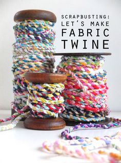handmade fabric twine DIY using fabric scraps included video tutorial