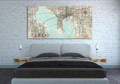 TAMPA FL Canvas Print Florida Tampa FL Vintage map Tampa City Map Horizontal Wall Art Vintage map Oversized poster extra large huge old map
