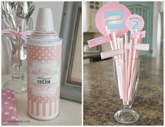 Ice Cream parlor Party Whipped Cream & Straws