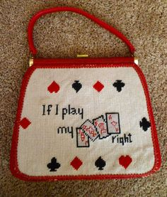 If I Play My Cards Right needlepoint 1960s JR Florida purse.