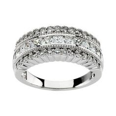 14k White Gold White Diamond Fluted 3-Row Anniversary Band - 1 Cttw (H,Si1)