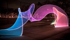light art installation Designed by Duncan Frazier and Steve McGuigan of Brookyln-based BitBanger Labs, the Pixelstick is a fancy new gadget for creating long-exposure light paint Exposure Lights, Long Exposure, Light Art, Art Conceptual, Light Painting Photography, Light Trails, Colossal Art, Photoshop, New Gadgets