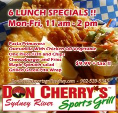 6 Lunch Specials For $9.99 Plus Tax at Don Cherry's Sports Grill in Cape Breton! #lunchideas #lunchspecials
