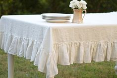 60x104 Cream Ruffled Linen Tablecloth by ruffledlinens on Etsy, $124.95