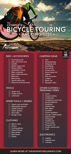 A Bike Touring Packing List for cycling trips. Whether you are planning a weekend or year long trip, don't forget anything with this packing checklist. Touring Bicycles, Touring Bike, Mountain Bike Shoes, Mountain Biking, Bike Pump, Bicycle Maintenance, Cool Bike Accessories, Bike Seat, Cycling Bikes