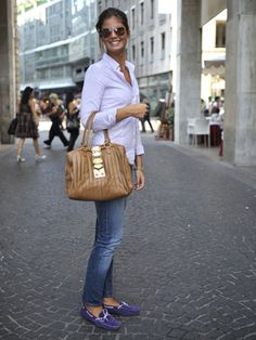 Milan Street Style. I really want these Tod's loafers.