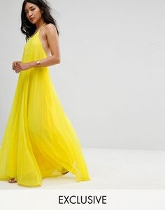 Missguided Pleated Yellow Maxi Dress by ASOS - Solar Eclipse Fashion Beyonce Yellow Dress, Yellow Maxi Dress, Yellow Dress Summer, Yellow Gown, Halter Neck Maxi Dress, Pleated Maxi, Halter Tops, Maxi Robes, Maxi Dresses