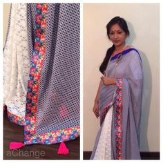Blue mulmul #saree with  white #crochet pleats. Indianwear with a twist