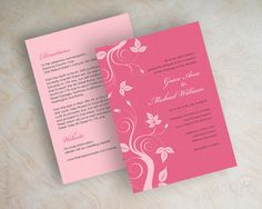 Vine Wedding Invitation, Swirly Vine Invite, Vine Wedding Stationery, Wedding Invitation, Honeysuckle Pink, Light Pink, Analeigh by www.appleberryink.com