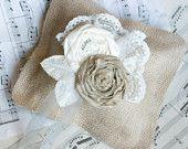 Romantic Lace and Burlap Ring Bearer Pillow / Wedding Pillow / Wedding Ring Bearer Pillow / Rustic Wedding. $34.50, via Etsy.