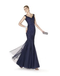 Pronovias Evening Dress / Gown - Beaded long dress with V neck neckline and lace appliqués in Navy Blue. Available at Designer Bridal Room, Hong Kong