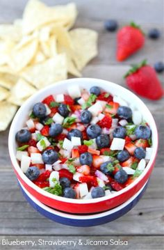 Blueberry, Strawberry Jicama Salsa 1 cup fresh blueberries 1 cup diced strawberries 1 cup diced jicama 1/3 cup chopped cilantro 1/4 cup finely chopped red onion 2 tablespoons finely chopped jalapeno pepper, stemmed and seeded Juice of 1 large lime Salt, to taste Tortilla chips, for serving