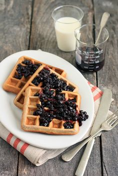 Healthy, wonderful Cinnamon Teff Waffles with Blueberry Compote. Nom, nom, nom