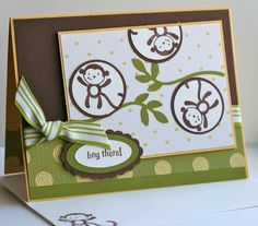 Stampin Up Fox & Friends monkey card