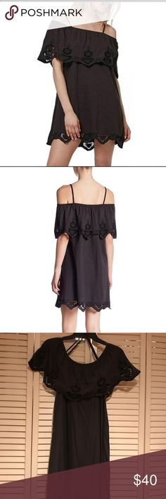 Topshop cut work cold shoulder strappy dress Topshop black sundress. Can be worn as completely off shoulder, or with straps. Worn once and in great condition. Topshop Dresses