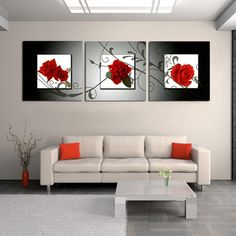 Free shipping New arrival 3 pieces realist red rose print painting canvas nice quality wall art modern decor pictures No frame-in Painting & Calligraphy from Home & Garden on Aliexpress.com | Alibaba Group