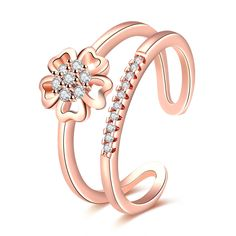 Rose Gold Plated Double Lines Five Leaves Grass Open Ring