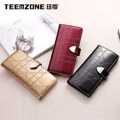 Lady Women Real Leather Korea Clutch Snap Button Wallet Evening Party Long Purse #teemzone #LongCardHolderHandbag