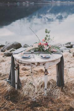 Table Grey Floral Centrepiece Bone Norway Mountain Elopement | Moody Chic Norwegian Fjord Wedding Ideas https://www.anoukfotografeert.nl/