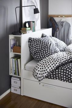 BRIMNES Headboard with storage compartment, white, Queen. The hidden storage for books, magazines and all other things you like to keep nearby makes BRIMNES headboard a small-space hero. Ikea Bedroom, Small Room Bedroom, Bedroom Decor, Tiny Master Bedroom, Narrow Bedroom, Small Rooms, Bedroom Ideas, Small Bedroom Storage, Storage Headboard