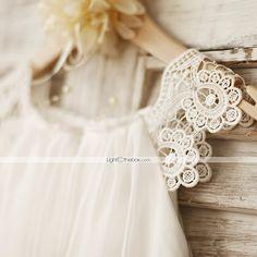 Sheath Knee-length Flower Girl Dress - Chiffon / Lace Sleeveless 2016 – $49.99
