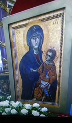 Icona della Madonna con bambino Salus Populi Romani a Santa Maria Maggiore cattedrale di Roma.