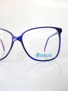cf18afc47b305 Vintage Cobalt Blue Wayfarer Eyeglasses Unisex Mens Womens Eyeglass Frames  Dark Navy Sapphire Huge Oversized 1980s 80s Indie Jewel Indigo