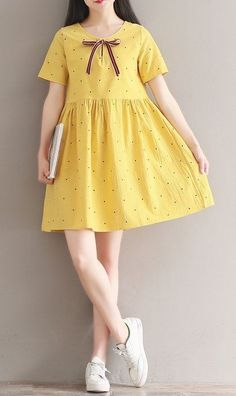 Women loose fit plus over size dress bow ribbon dots skater skirt fashion chic - - Women loose fit plus over size dress bow ribbon dots skater skirt fashion chic Loose Dress Models A woven shirt dress featuring a ro. Trendy Dresses, Cute Dresses, Casual Dresses, Short Sleeve Dresses, Long Sleeve, Frock Fashion, Skirt Fashion, Fashion Dresses, Summer Dress Outfits